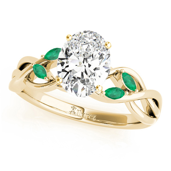 Twisted Oval Emeralds Vine Leaf Engagement Ring 18k Yellow Gold (1.50ct)