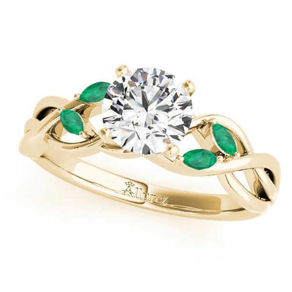 Twisted Round Emeralds Vine Leaf Engagement Ring 18k Yellow Gold (1.50ct)