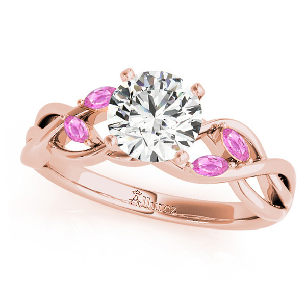 Twisted Round Pink Sapphires & Moissanite Engagement Ring 14k Rose Gold (0.50ct)