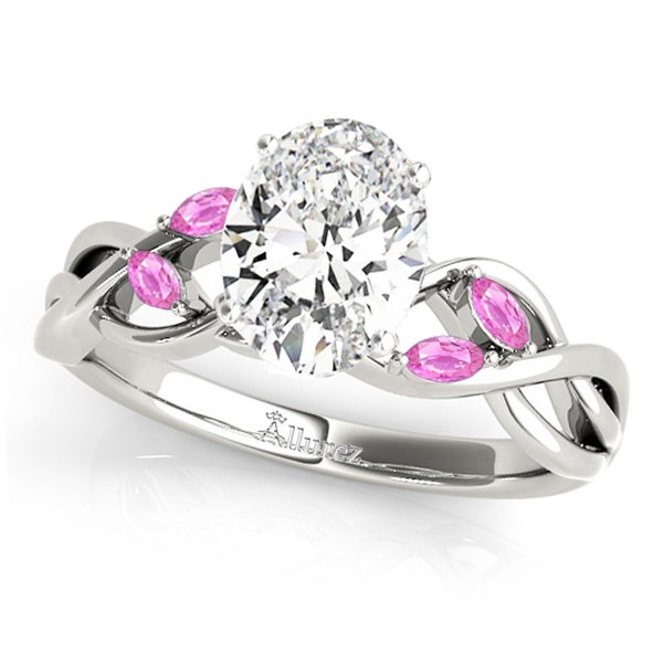 Oval Pink Sapphires Vine Leaf Engagement Ring 14k White Gold (1.50ct)