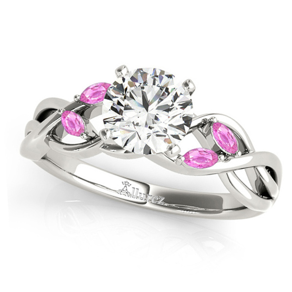 Twisted Round Pink Sapphires & Moissanite Engagement Ring 14k White Gold (0.50ct)