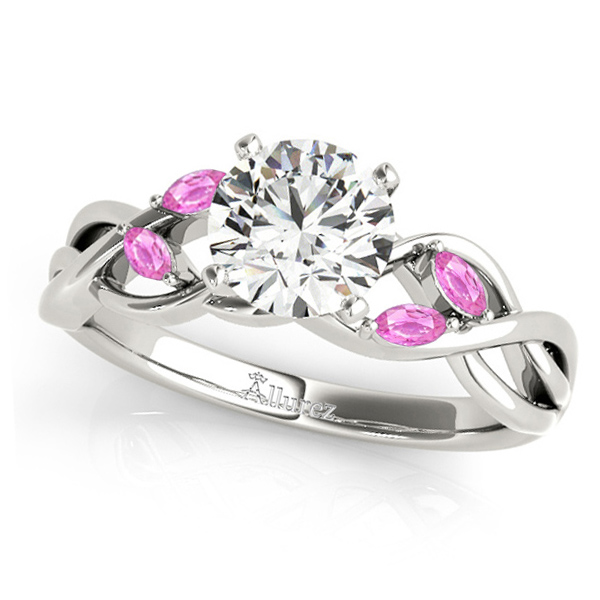 Round Pink Sapphires Vine Leaf Engagement Ring 18k White Gold (0.50ct)
