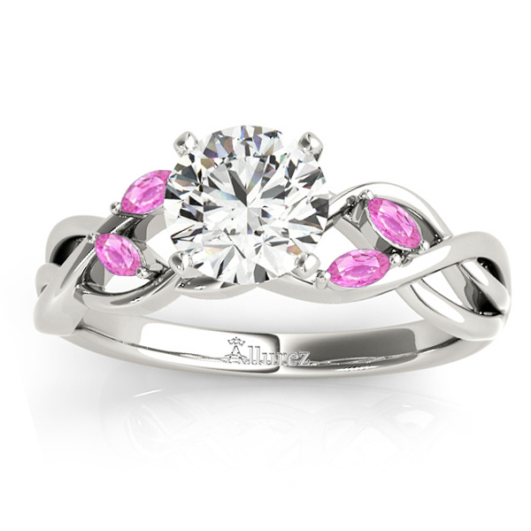 Pink Sapphire Marquise Vine Leaf Engagement Ring 18k White Gold (0.20ct)