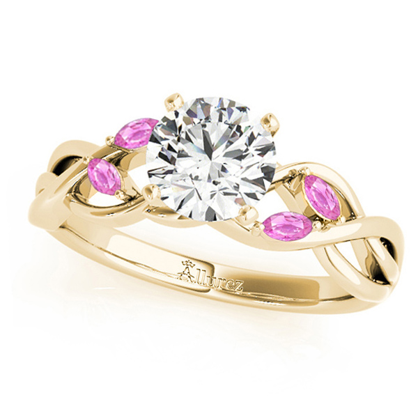 Twisted Round Pink Sapphires & Moissanite Engagement Ring 18k Yellow Gold (1.50ct)