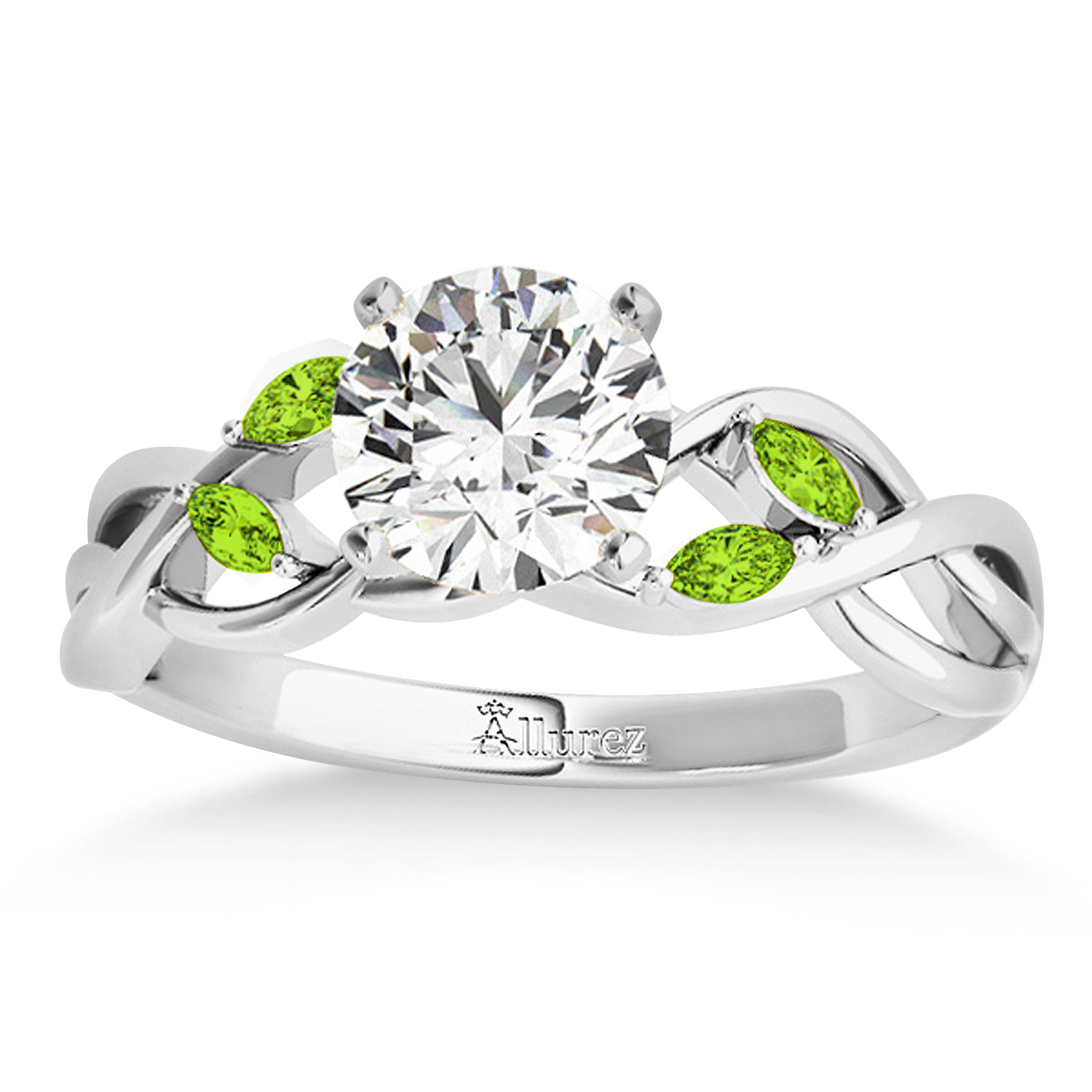 Peridot Marquise Vine Leaf Engagement Ring 14k White Gold (0.20ct)