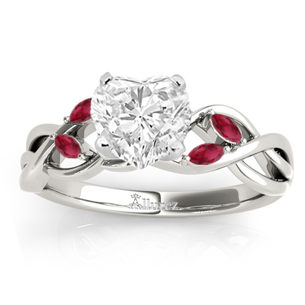 Ruby Marquise Vine Leaf Engagement Ring 14k White Gold (0.20ct)