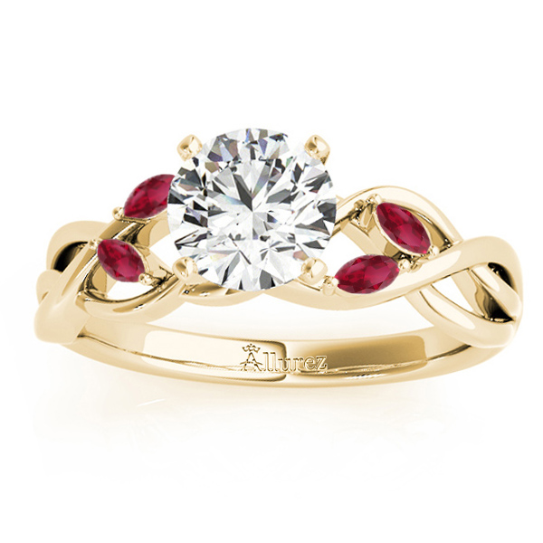 Ruby Marquise Vine Leaf Engagement Ring 14k Yellow Gold (0.20ct)