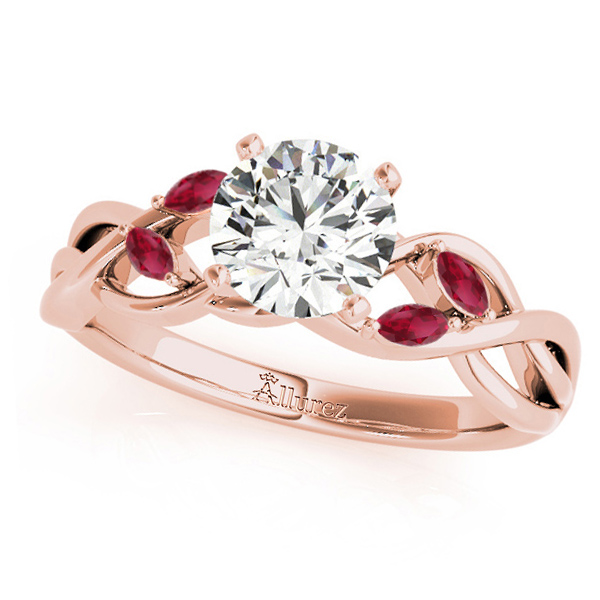 Twisted Round Rubies & Moissanite Engagement Ring 18k Rose Gold (0.50ct)