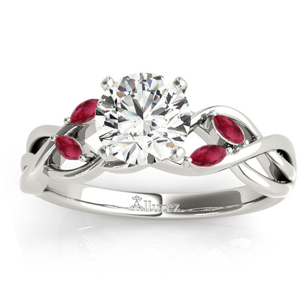 Ruby Marquise Vine Leaf Engagement Ring 18k White Gold (0.20ct)