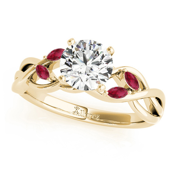 Twisted Round Rubies & Moissanite Engagement Ring 18k Yellow Gold (0.50ct)