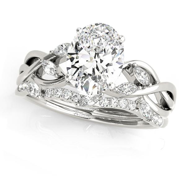 Twisted Oval Diamonds Bridal Sets 14k White Gold (1.23ct)