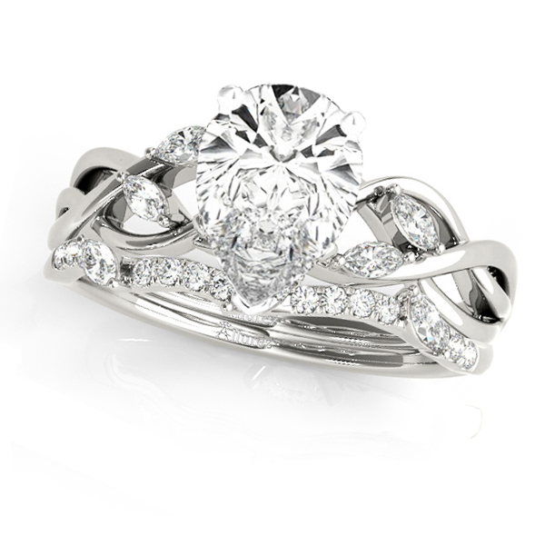 Twisted Pear Diamonds Bridal Sets 14k White Gold (1.23ct)