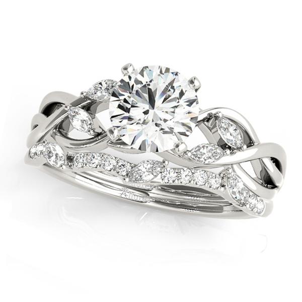 Twisted Round Diamonds Bridal Sets 14k White Gold (1.23ct)