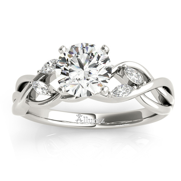 Diamond Marquise Vine Leaf Bridal Set Setting 14k White