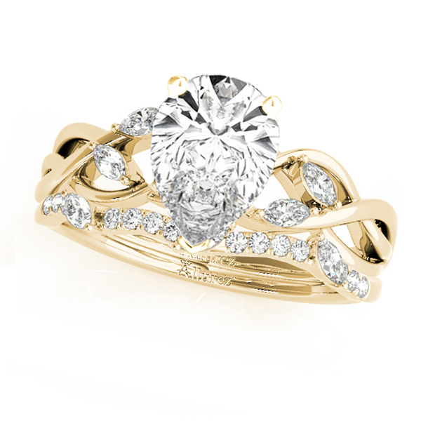 Twisted Pear Diamonds Bridal Sets 14k Yellow Gold (1.23ct)