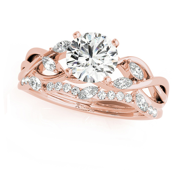 Twisted Round Moissanites Bridal Sets 18k Rose Gold (1.23ct)