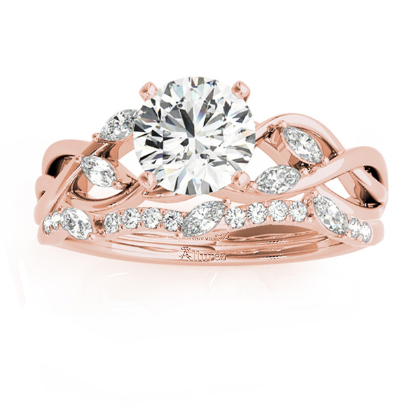 Diamond Marquise Vine Leaf Bridal Set Setting 18k Rose Gold (0.43ct)