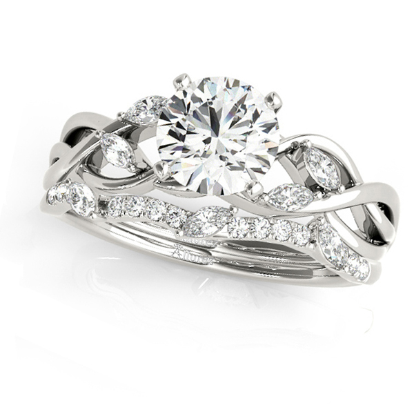 Twisted Round Moissanites Bridal Sets 18k White Gold (1.23ct)