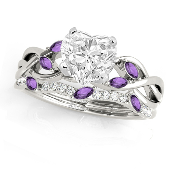 Twisted Heart Amethysts & Diamonds Bridal Sets 14k White Gold (1.23ct)