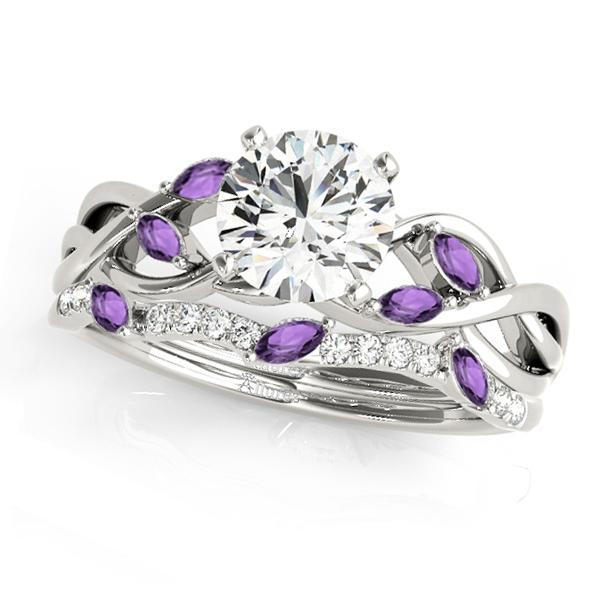Twisted Round Amethysts & Diamonds Bridal Sets 14k White Gold (0.73ct)