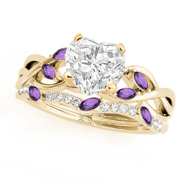 Twisted Heart Amethysts & Diamonds Bridal Sets 14k Yellow Gold (1.73ct)