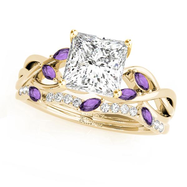Twisted Princess Amethysts & Diamonds Bridal Sets 14k Yellow Gold (1.73ct)