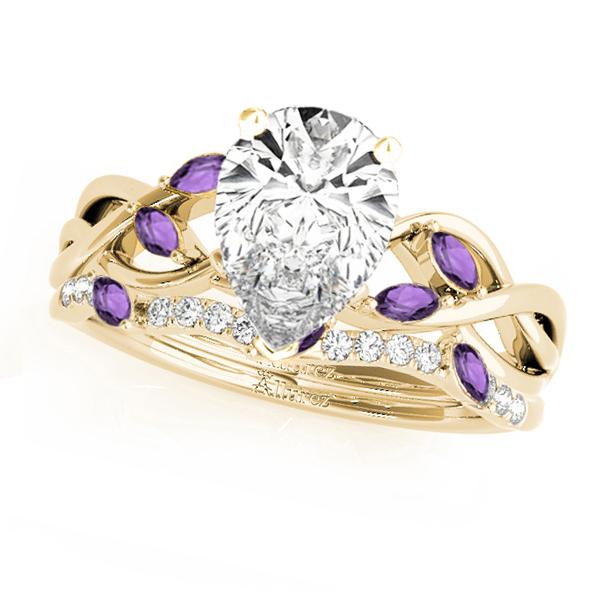 Twisted Pear Amethysts & Diamonds Bridal Sets 14k Yellow Gold (1.73ct)