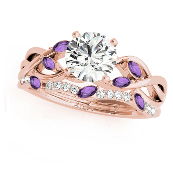 Twisted Round Amethysts & Moissanites Bridal Sets 18k Rose Gold (0.73ct)