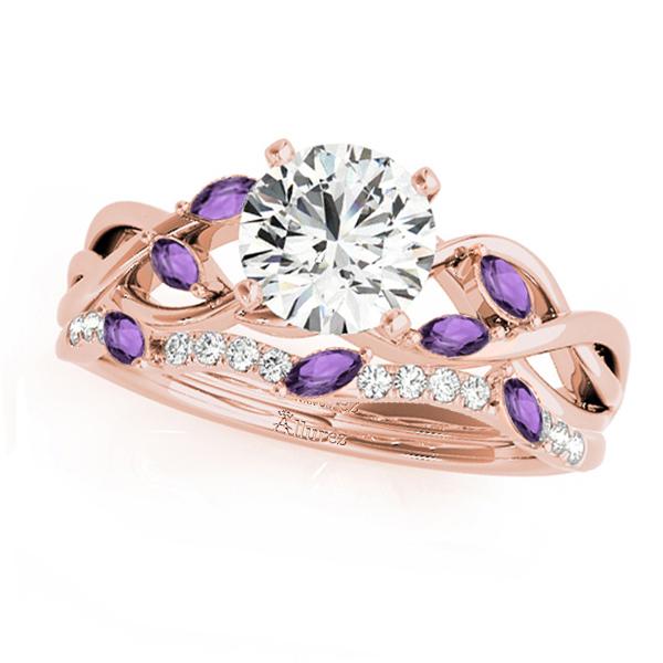 Twisted Round Amethysts & Diamonds Bridal Sets 18k Rose Gold (1.23ct)