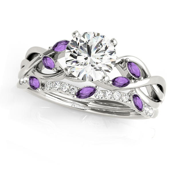 Twisted Round Amethysts & Moissanites Bridal Sets 18k White Gold (1.73ct)