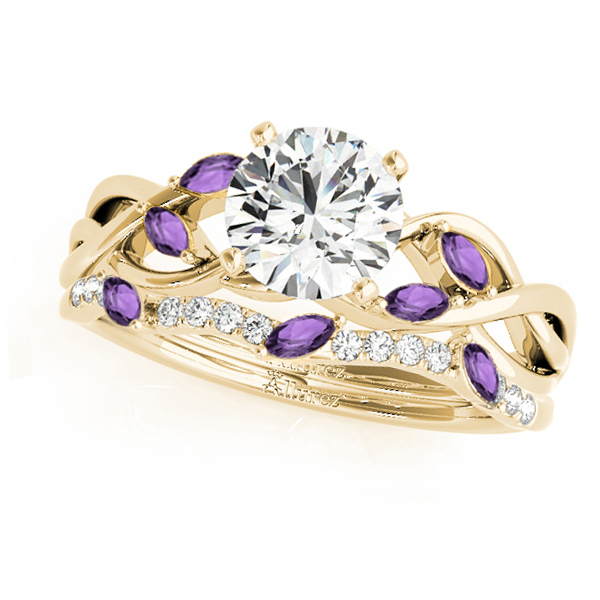 Twisted Round Amethysts & Moissanites Bridal Sets 18k Yellow Gold (0.73ct)