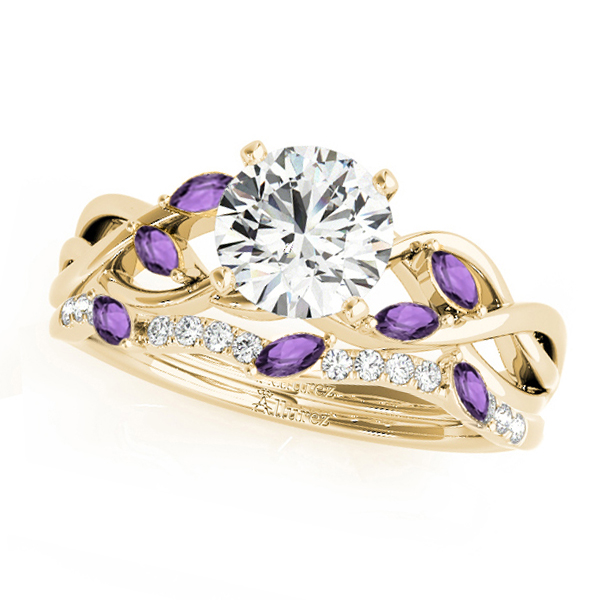 Twisted Round Amethysts & Diamonds Bridal Sets 18k Yellow Gold (1.23ct)
