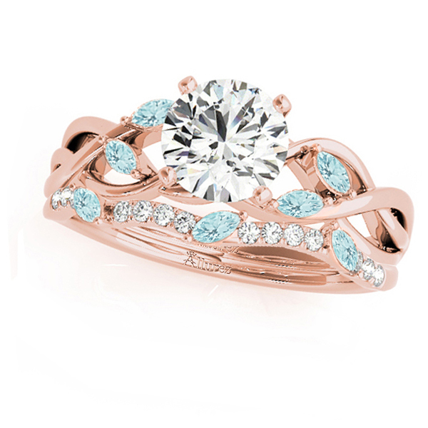 Twisted Round Aquamarines & Moissanites Bridal Sets 14k Rose Gold (1.23ct)