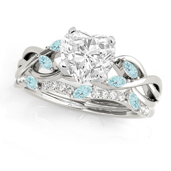 Twisted Heart Aquamarines & Diamonds Bridal Sets 14k White Gold (1.73ct)