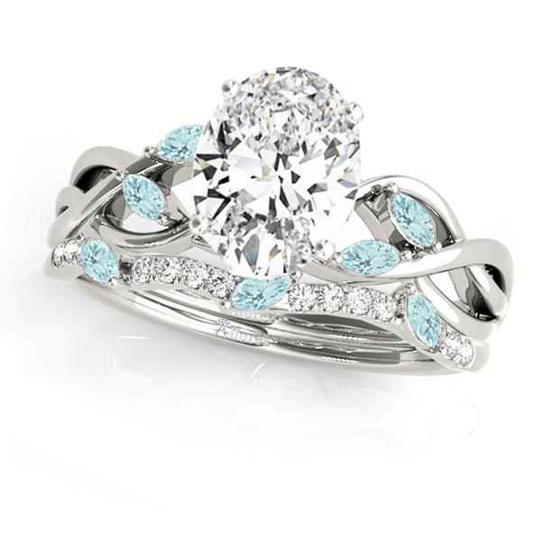 Twisted Oval Aquamarines & Diamonds Bridal Sets 14k White Gold (1.23ct)