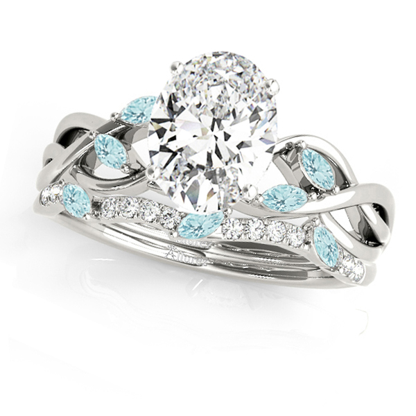 Twisted Oval Aquamarines & Diamonds Bridal Sets 14k White Gold (1.73ct)
