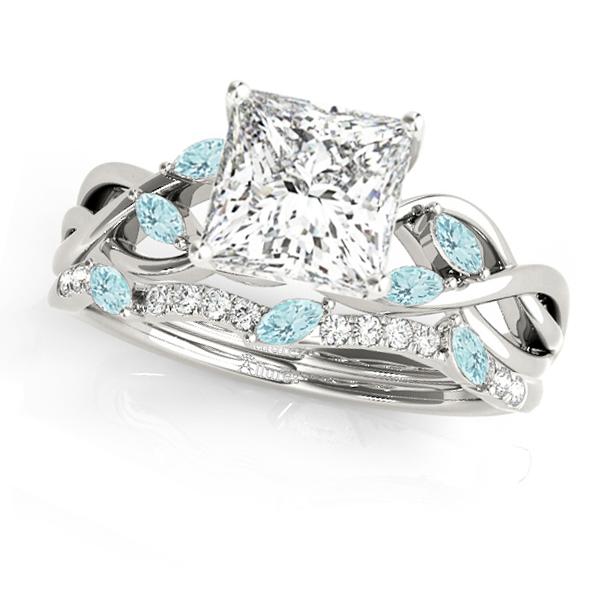 Twisted Princess Aquamarines & Diamonds Bridal Sets 14k White Gold (1.23ct)