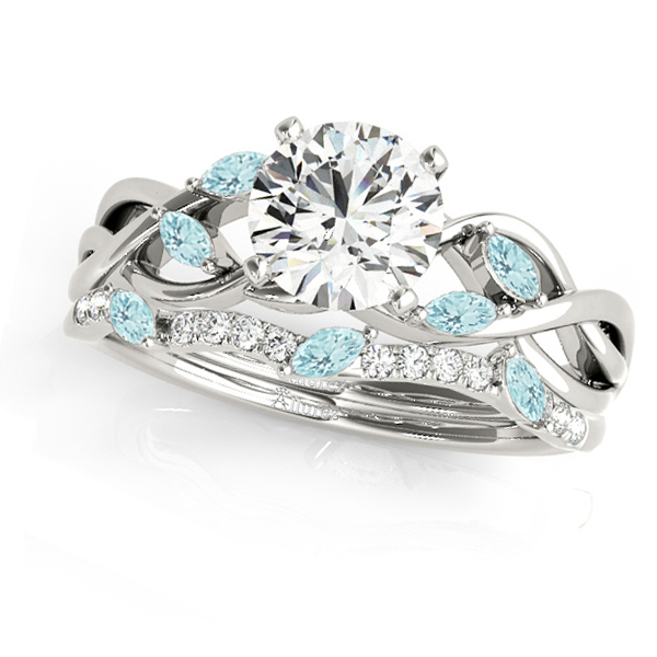 Twisted Round Aquamarines & Moissanites Bridal Sets 14k White Gold (1.23ct)