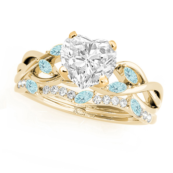 Twisted Heart Aquamarines & Diamonds Bridal Sets 14k Yellow Gold (1.73ct)
