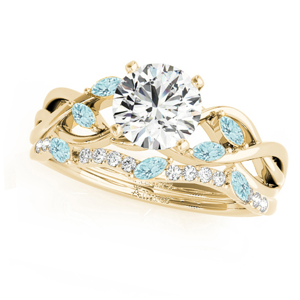 Twisted Round Aquamarines & Moissanites Bridal Sets 14k Yellow Gold (1.73ct)