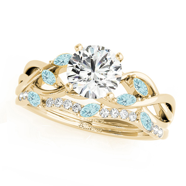 Twisted Round Aquamarines & Diamonds Bridal Sets 14k Yellow Gold (0.73ct)