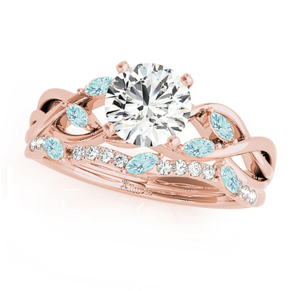 Twisted Round Aquamarines & Diamonds Bridal Sets 18k Rose Gold (1.23ct)