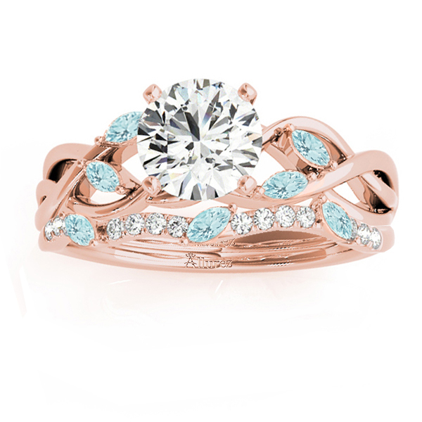 Marquise Aquamarine & Diamond Bridal Set Setting 18k Rose Gold (0.43ct)