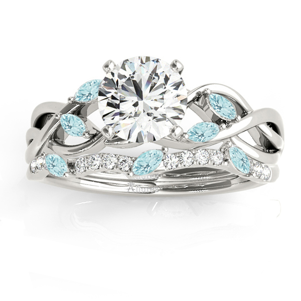 Marquise Aquamarine & Diamond Bridal Set Setting 18k White Gold (0.43ct)