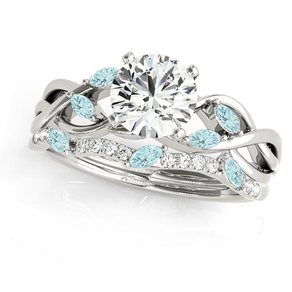 Twisted Round Aquamarines & Moissanites Bridal Sets Platinum (1.23ct)