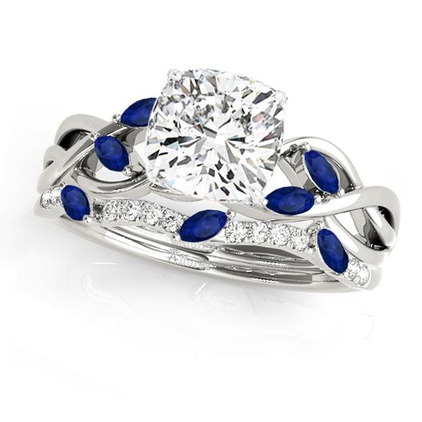 Twisted Cushion Blue Sapphires & Diamonds Bridal Sets 14k White Gold (1.23ct)