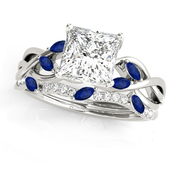 Twisted Princess Blue Sapphires & Diamonds Bridal Sets 14k White Gold (0.73ct)