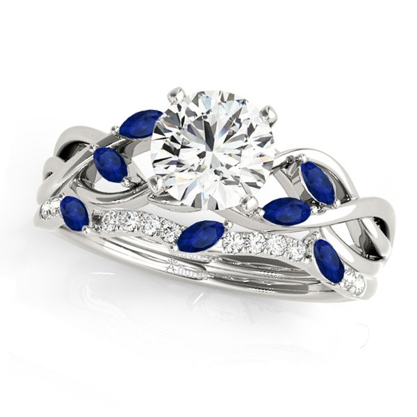 Twisted Round Blue Sapphires & Diamonds Bridal Sets 14k White Gold (1.23ct)