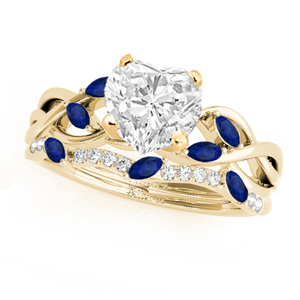 Twisted Heart Blue Sapphires & Diamonds Bridal Sets 14k Yellow Gold (1.23ct)