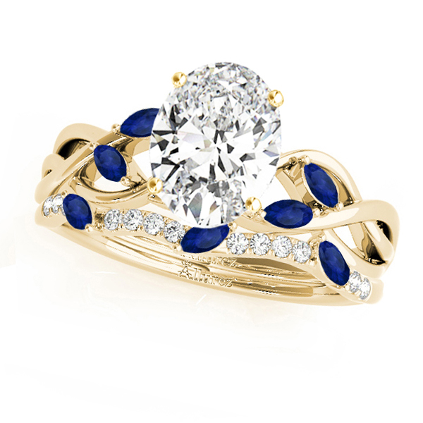 Twisted Oval Blue Sapphires & Diamonds Bridal Sets 14k Yellow Gold (1.23ct)